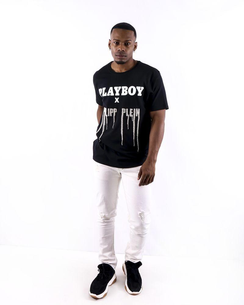 T shirt en coton noir à logo strassé Philipp Plein