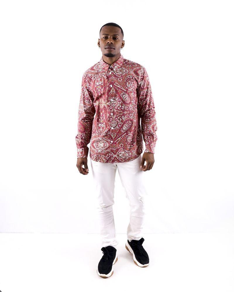 Chemise en coton rose à imprimé cachemire Edition M.R