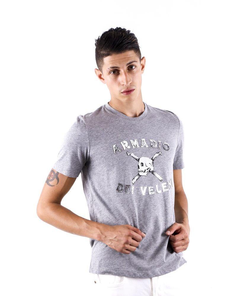 T shirt gris chiné à inscription lamé John Richmond