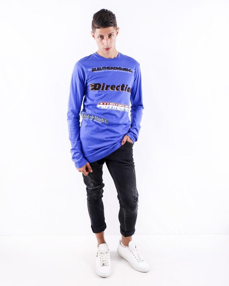 T shirt oversize bleu à flocage fantaisie John Galliano