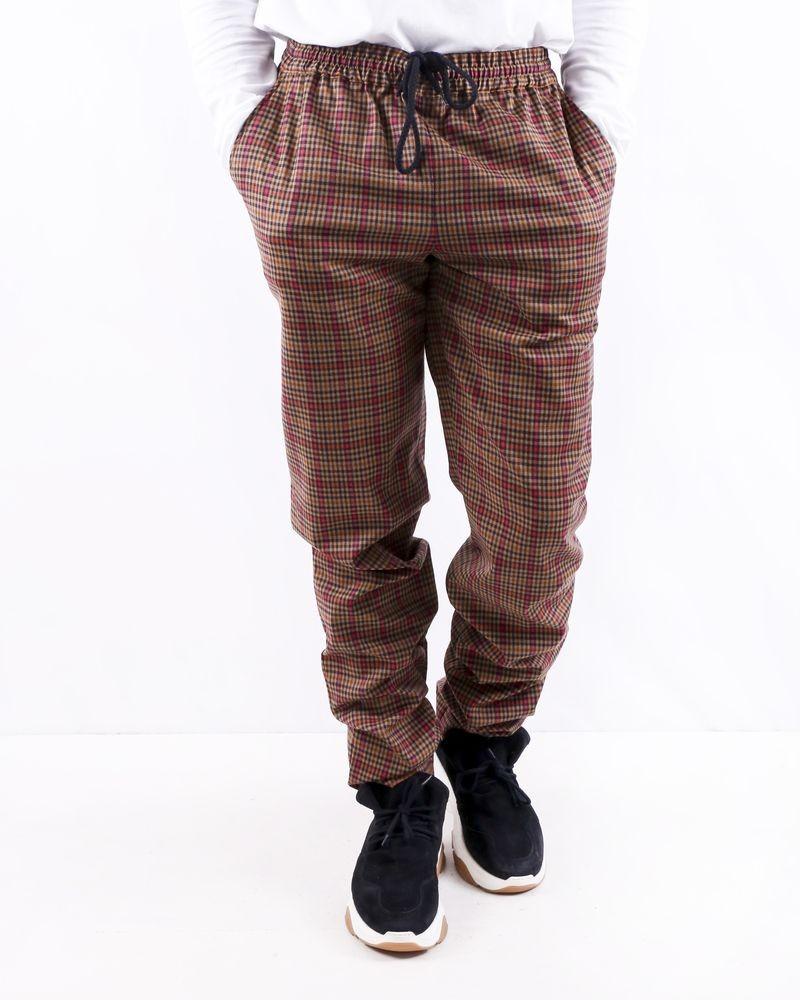 Pantalon en laine taupe à carreaux Edition M.R