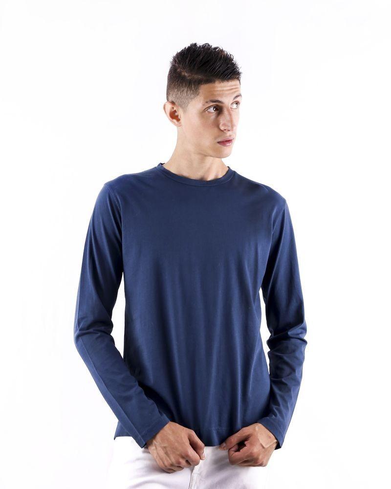 T shirt en coton bleu à manches longues Daniele Fiesoli