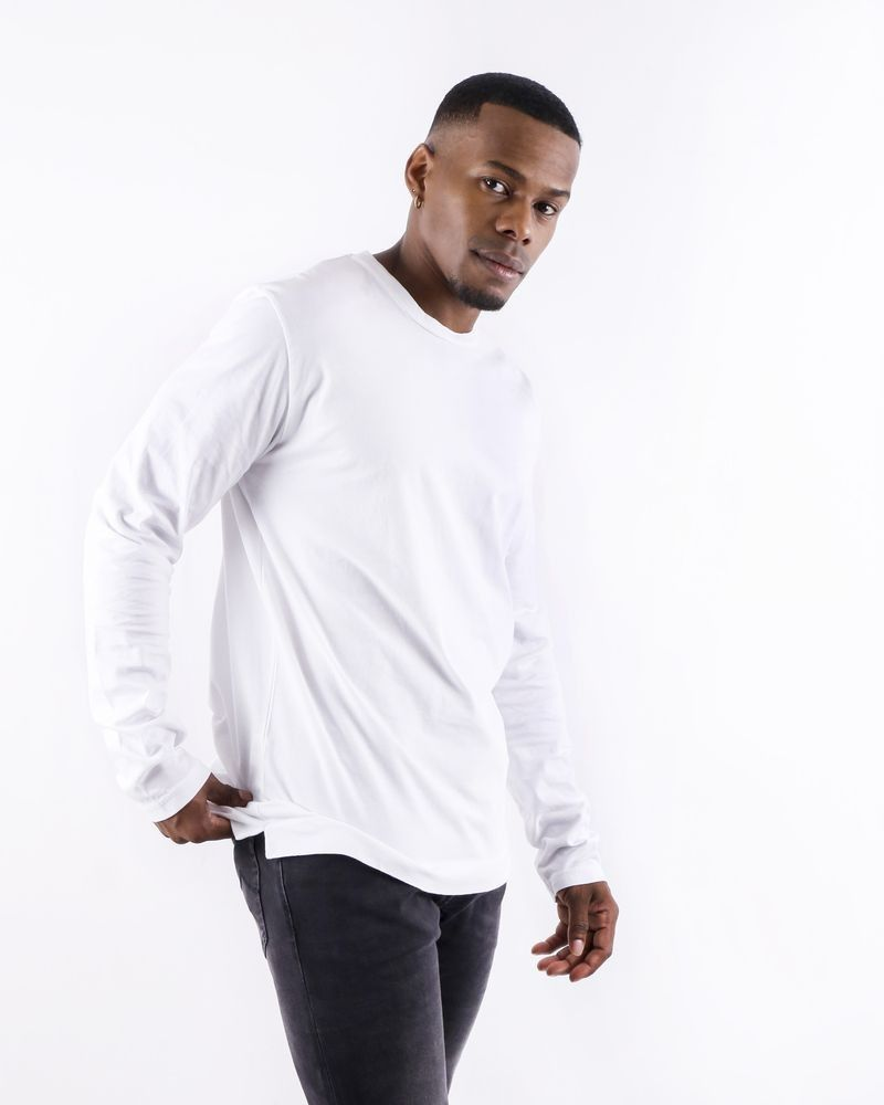 T shirt en coton blanc à manches longues Daniele Fiesoli