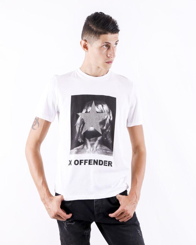 T shirt blanc à photo fantaisie John Richmond