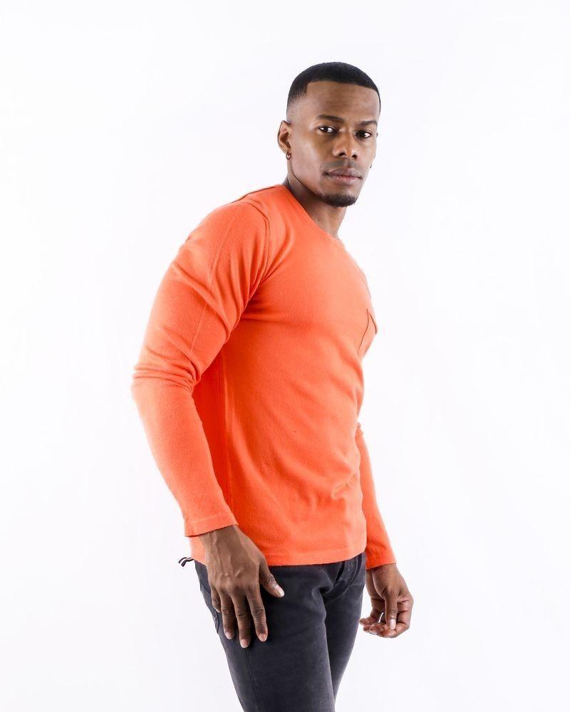 Pull en coton orange à poche poitrine Soho