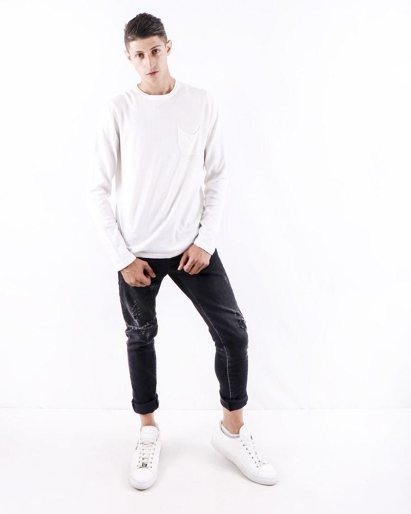 Pull en coton blanc à poche poitrine Soho
