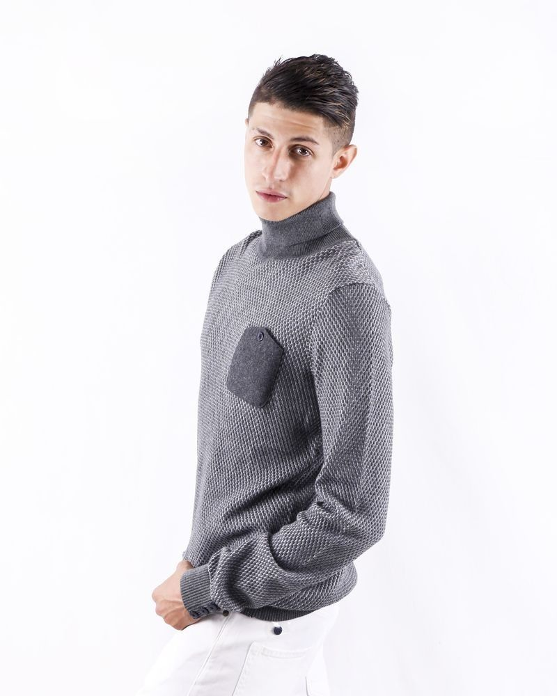 Pull en laine gris à motifs fantaisies Blue Industry