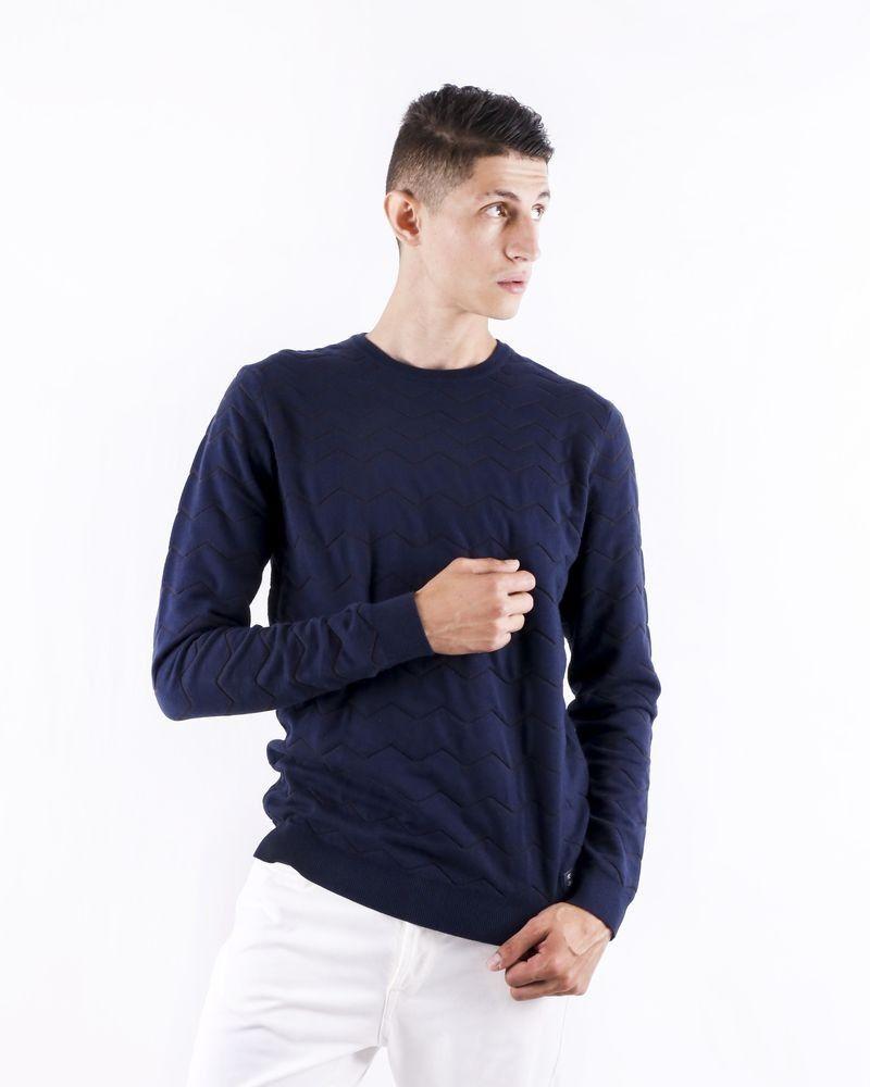 Pull en coton bleu à motifs géométriques Blue Industry