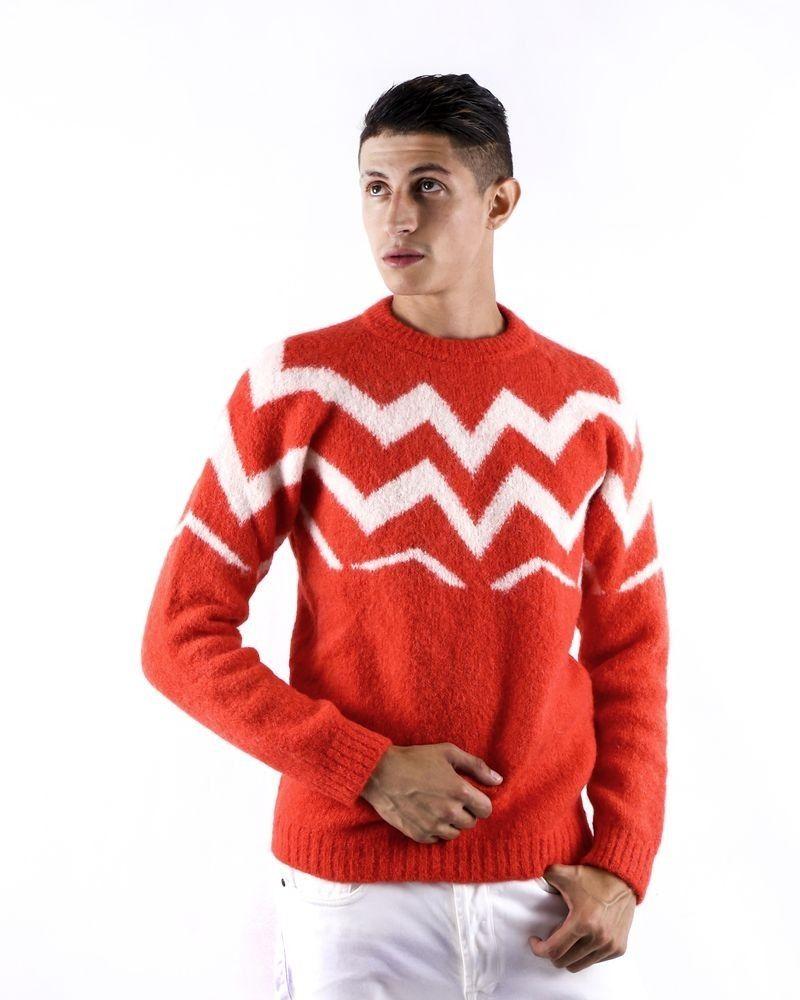 Pull en mohair rouge à motif géométrique Daniele Fiesoli