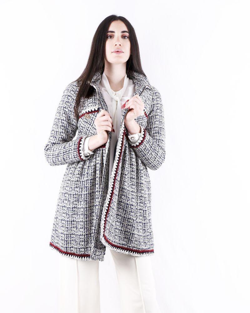 Manteau en tweed bicolore à galons crochets Edward Achour