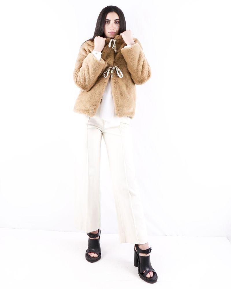 Manteau en fourrure synthétique beige Jijil