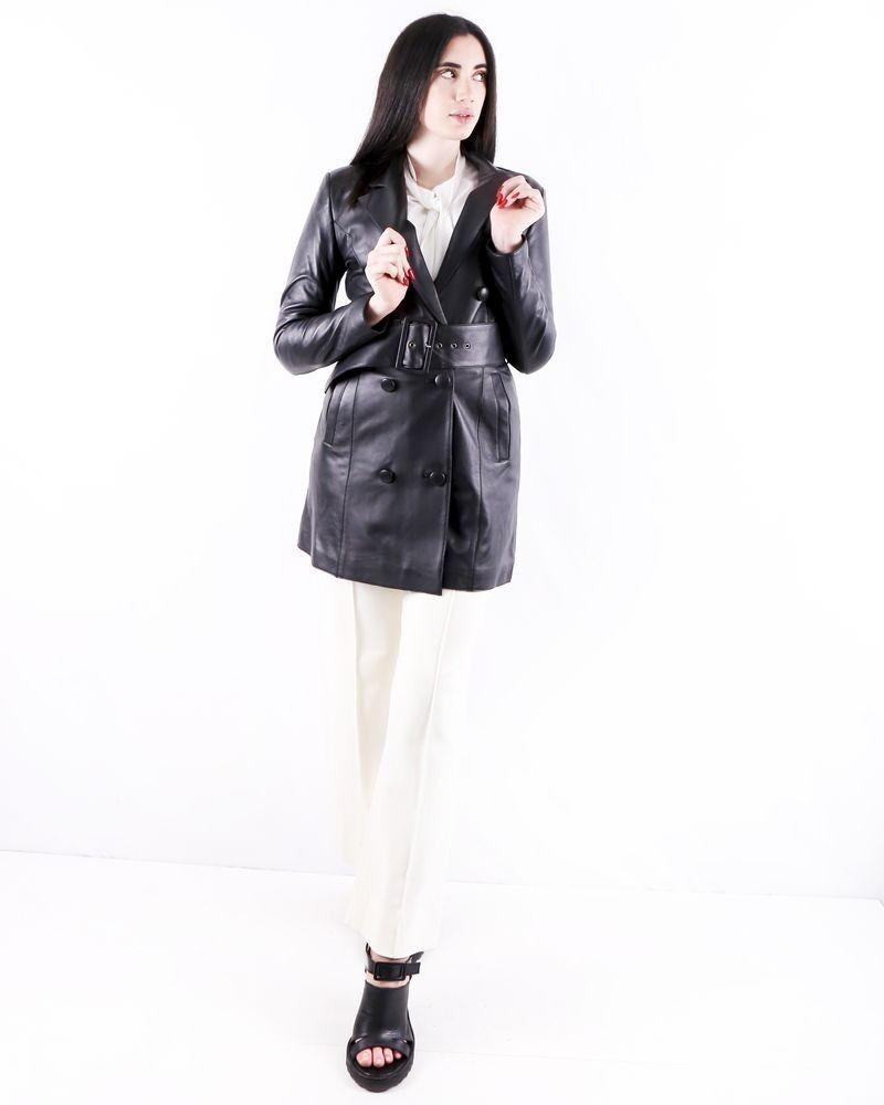 Trench coat en cuir noir Misha