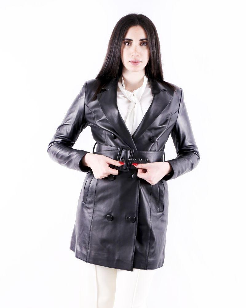 Manteau trench coat en cuir noir Misha collection