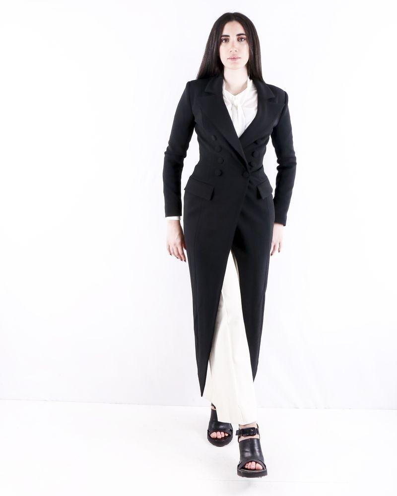 Manteau en crêpe noire façon smoking Misha Collection