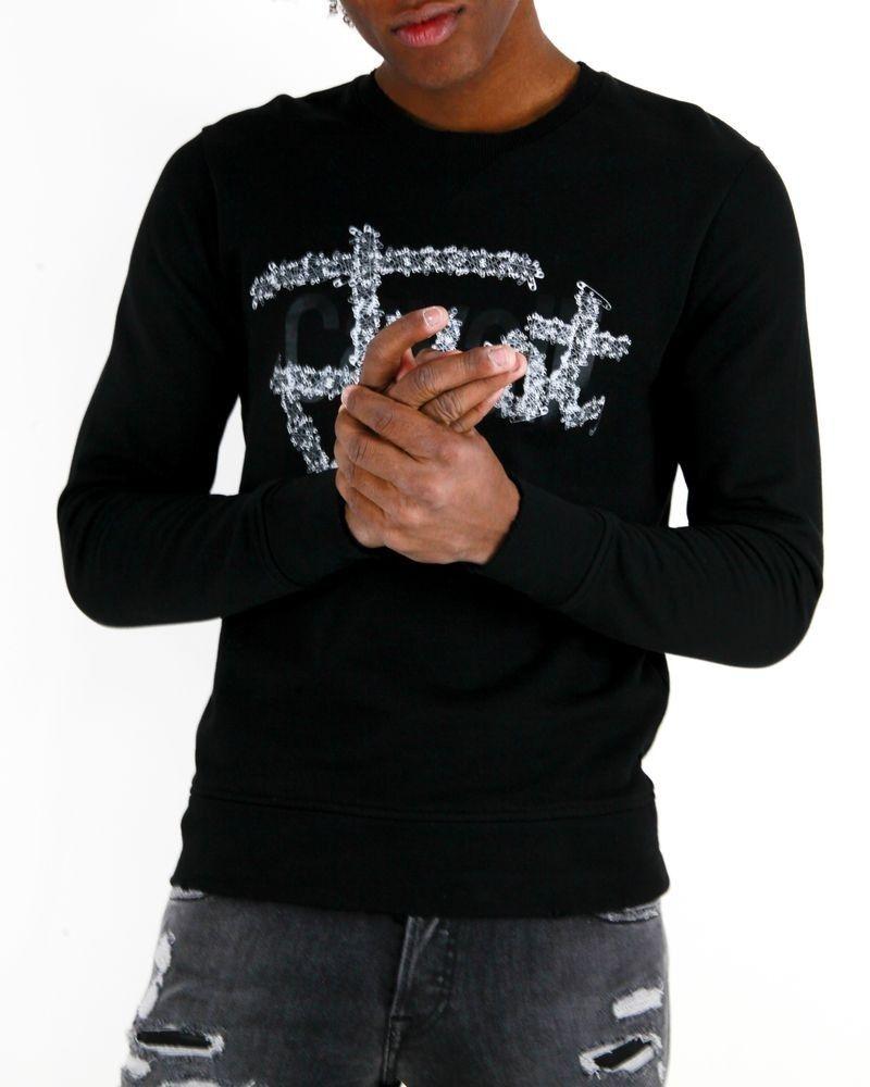Sweat noir à logo floqué Roberto Cavalli