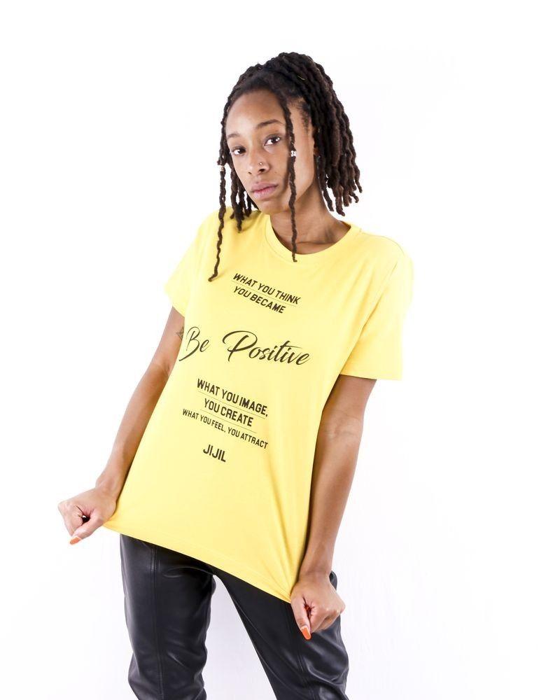T-Shirt jaune à inscription Jijil