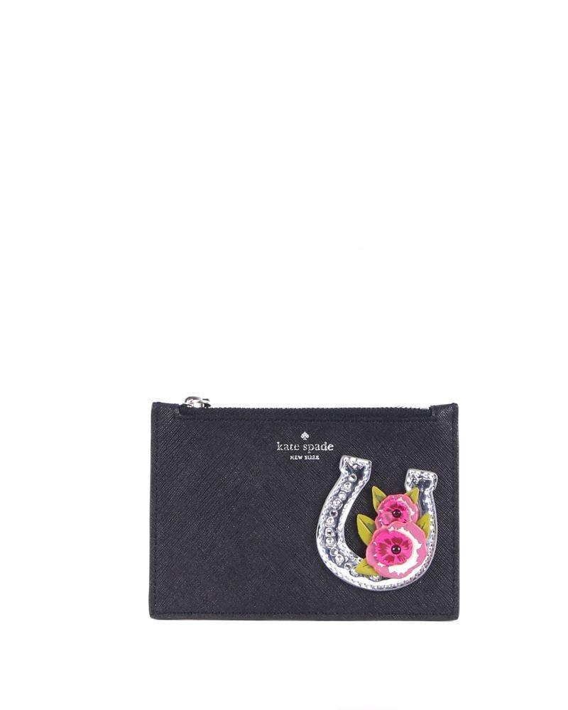 Porte monnaie en cuir noir Kate Spade