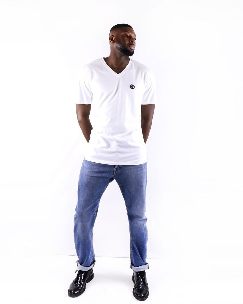 T shirt blanc à col V griffé Philipp Plein