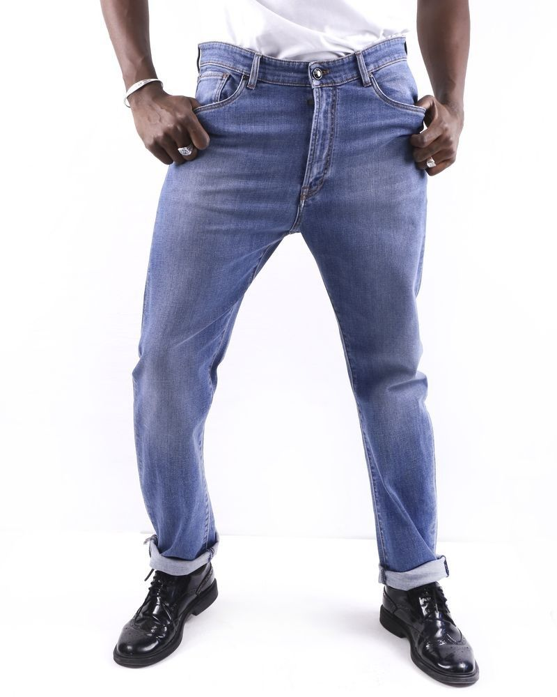 Jean regular en coton bleu Pal Zileri
