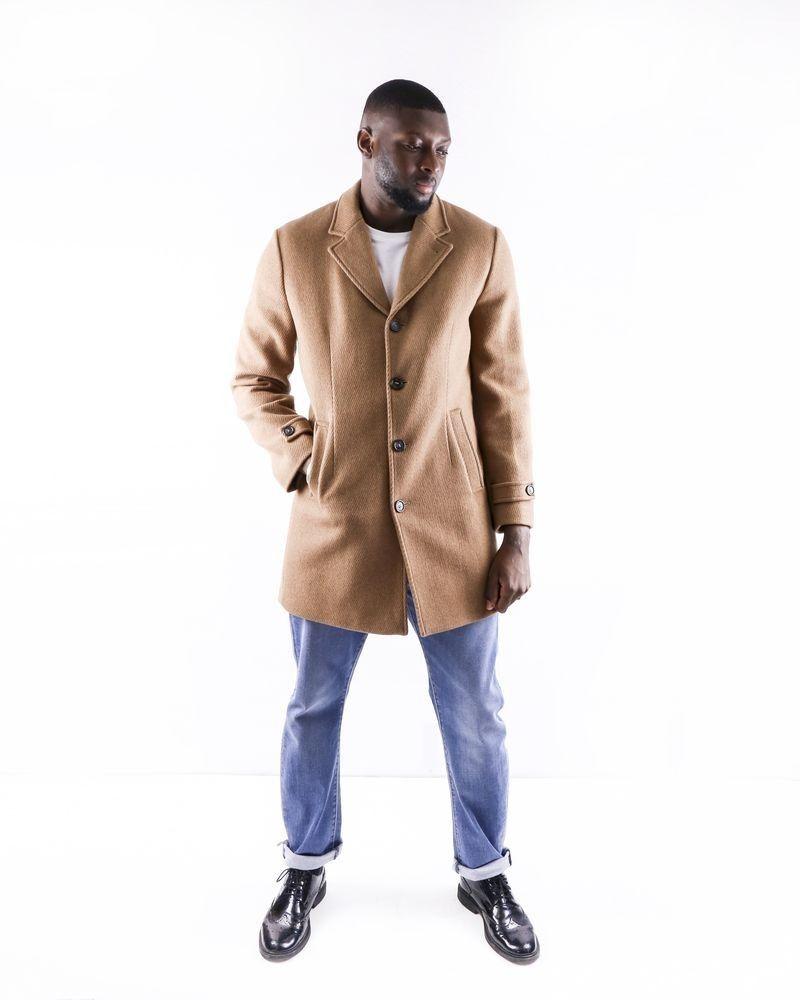 Manteau en laine cotelée camel Palto