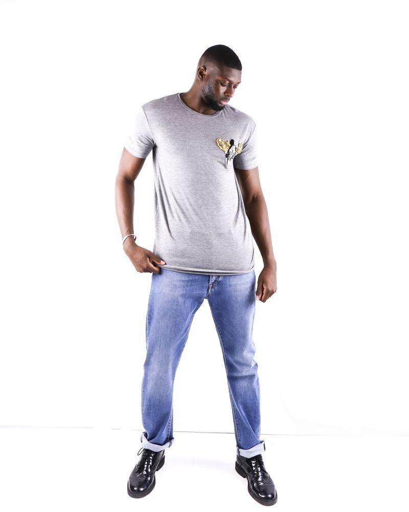 T-shirt en coton chiné gris à broderie fantaisie L'Edition L'Edition