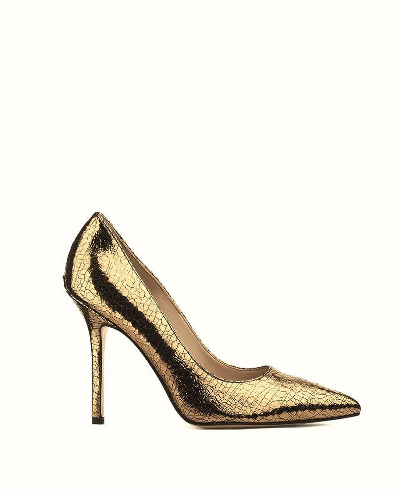 Escarpins en cuir doré à motif reptile Liu Jo
