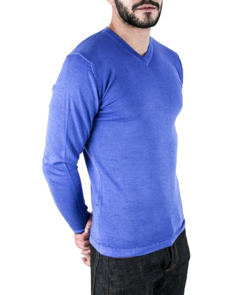 Pull en laine mérinos bleu Woolgroup Fiesoli