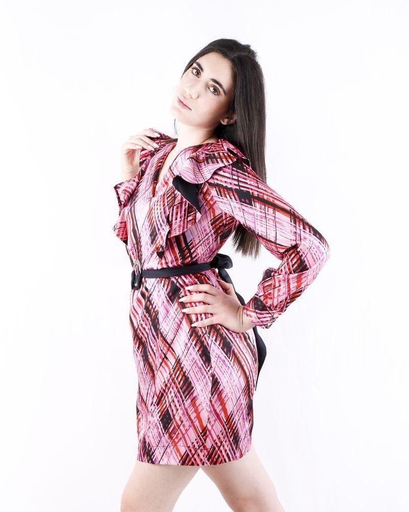 Robe en satin rose à motifs géométriques Nenette