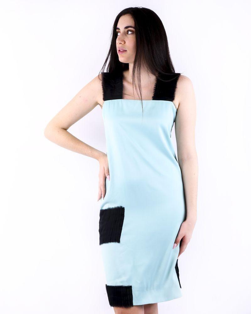 Robe en soie bleue à détails plissés Damir Doma
