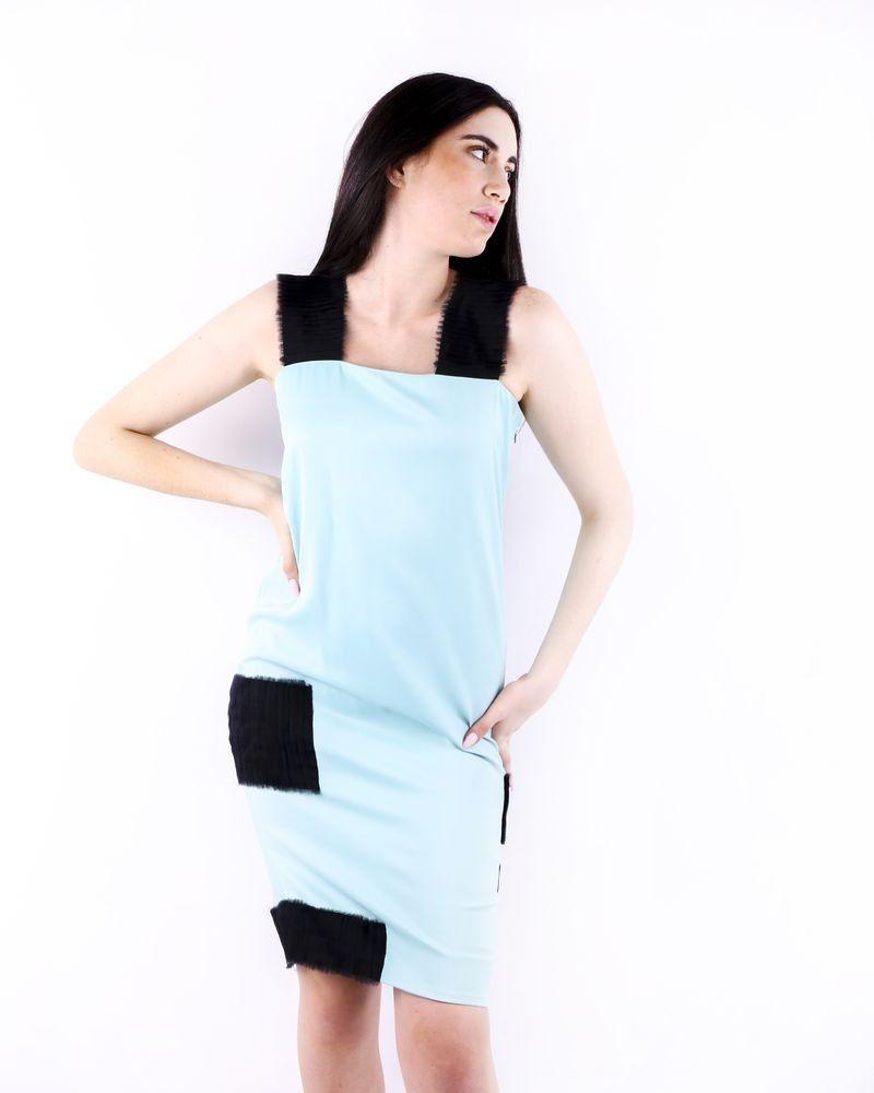 Robe en crêpe bleue à détails plissés Damir Doma