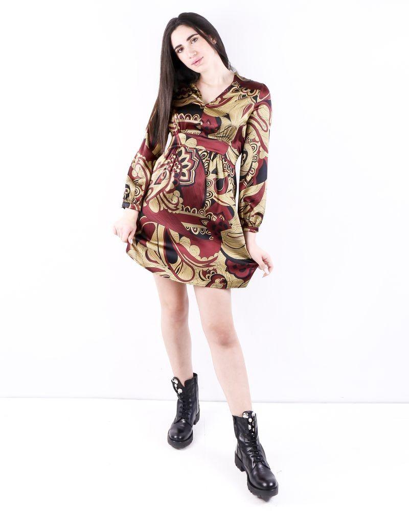 Robe empire en soie bordeaux à imprimé floral Momoni