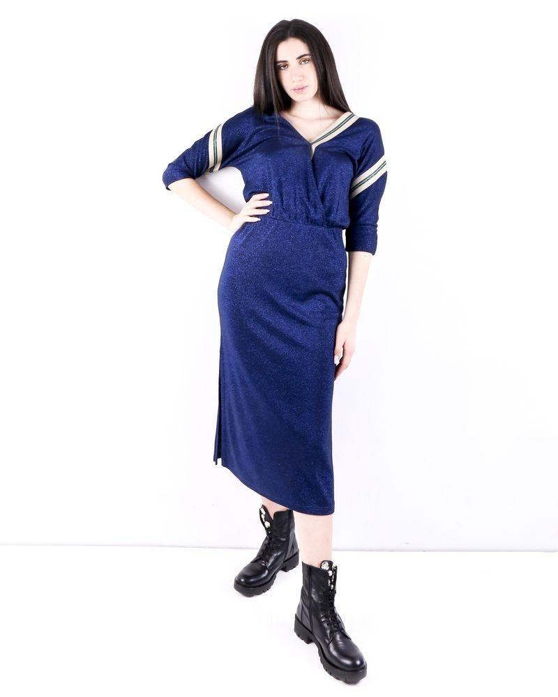 Robe empire en lurex pailleté bleu SVNTY