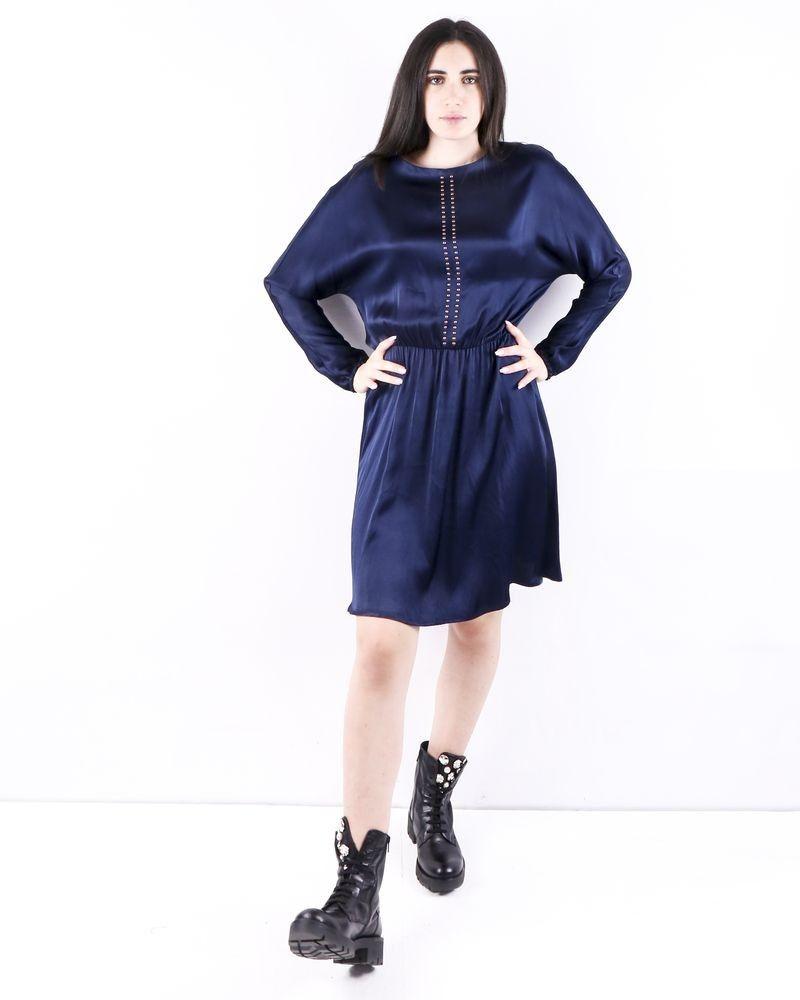 Robe empire en satin clouté bleu SVNTY