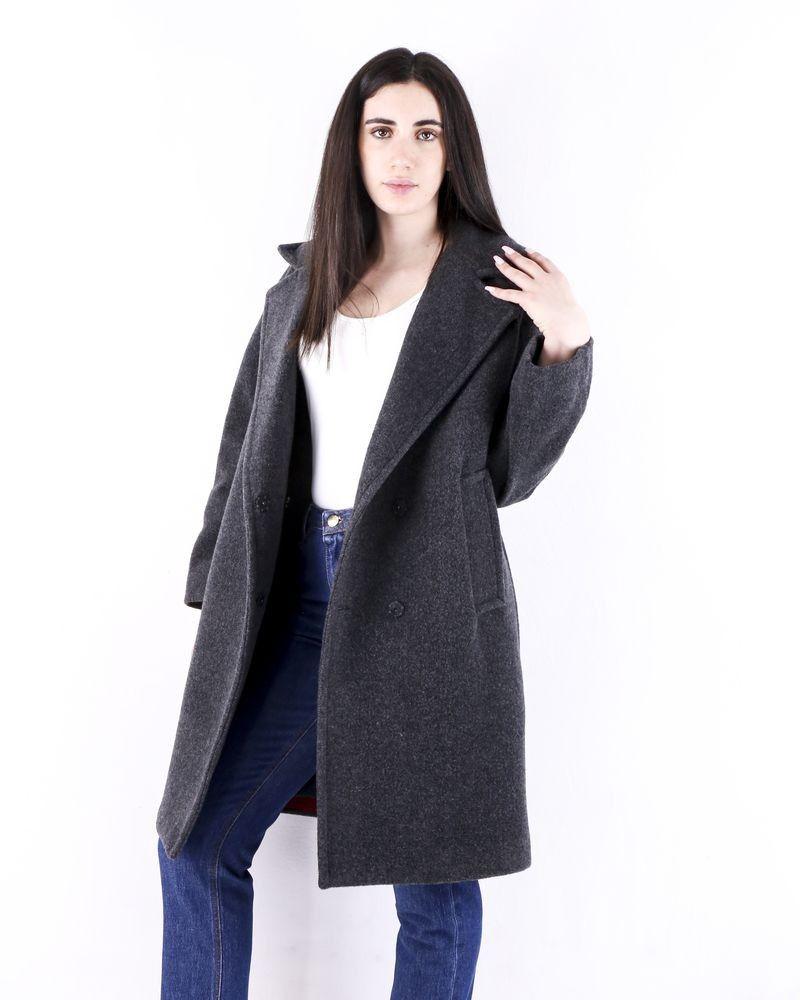 Manteau en laine bouillie grise Palto