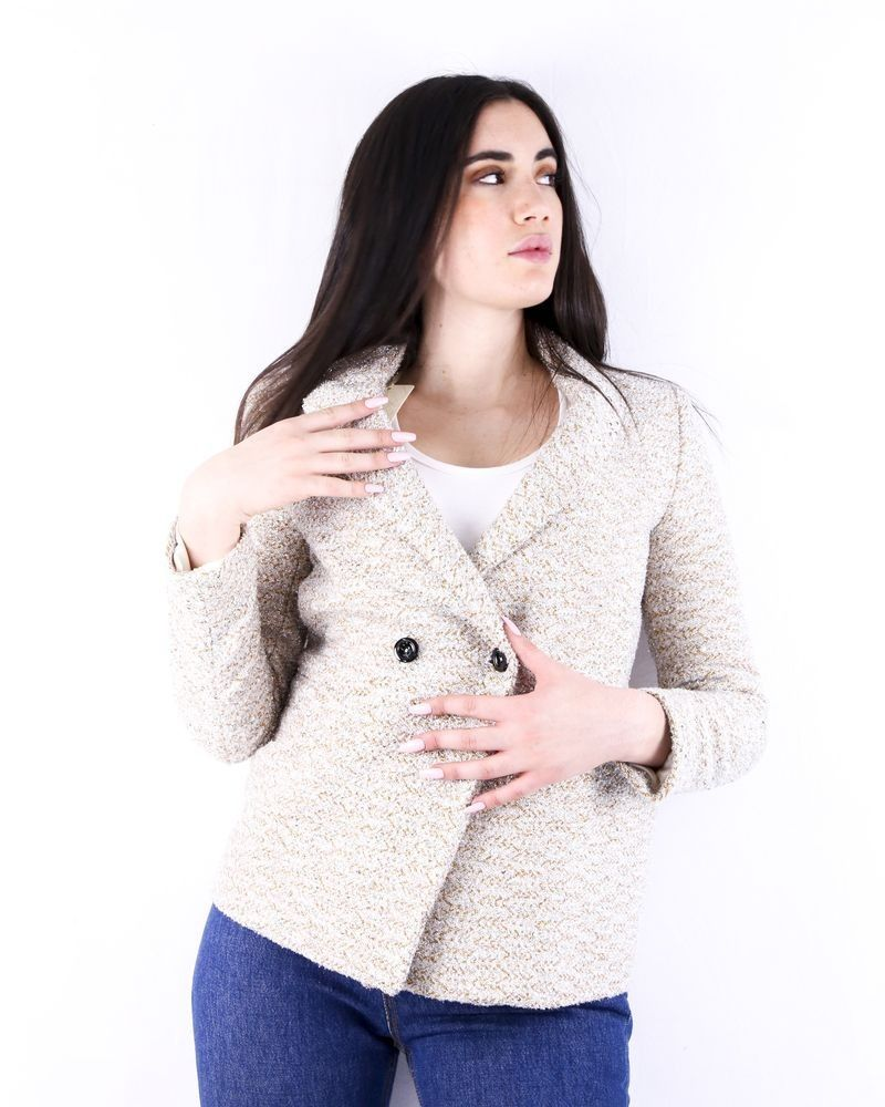 Veste en tweed lamé beige Momoni
