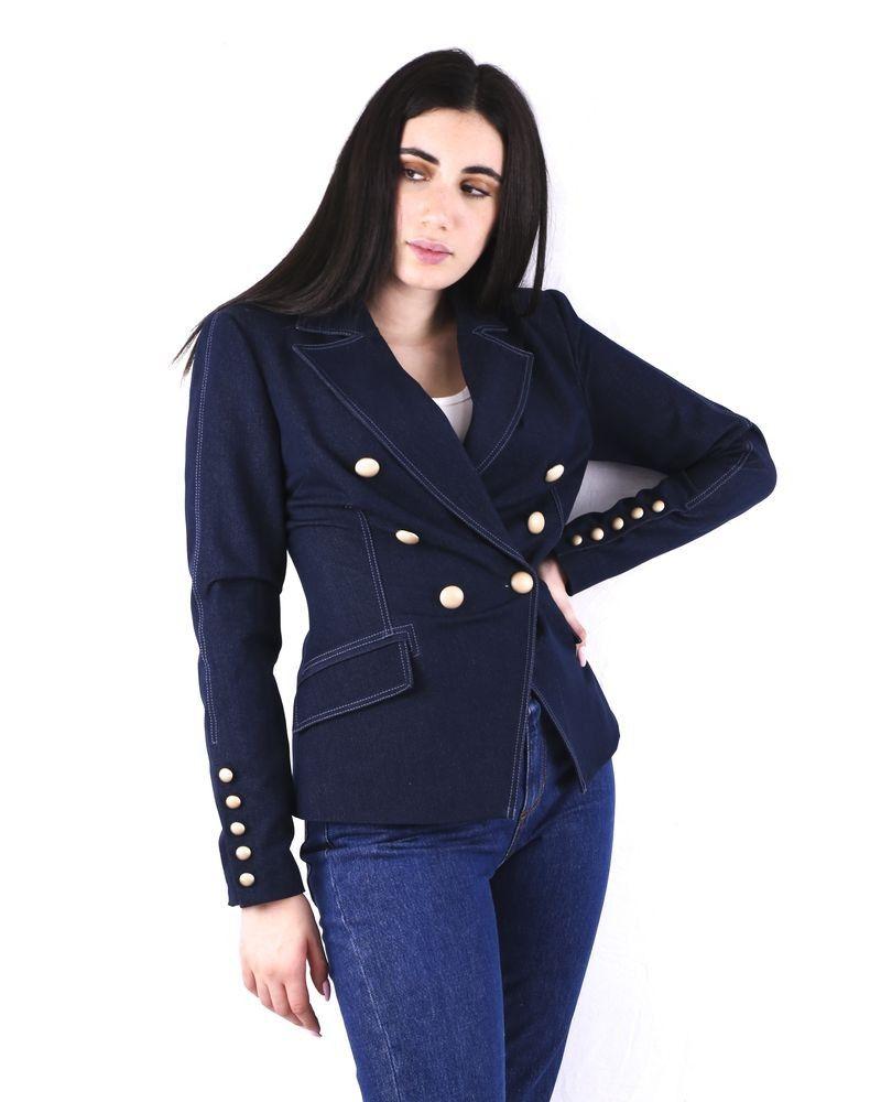 Veste cintrée en jean bleu à boutons dorés Misha