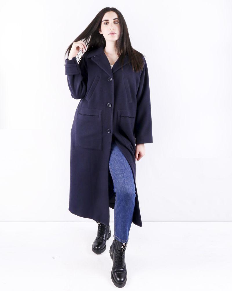Manteau en laine et cachemire bleu Momoni