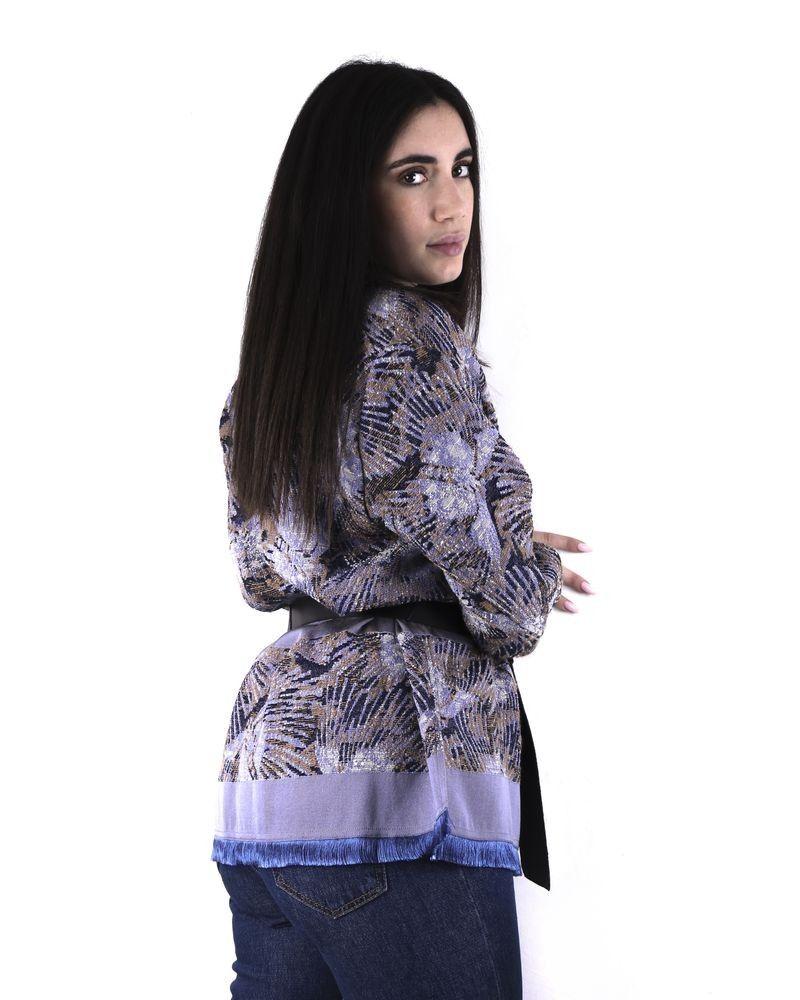 Veste violette d'inspiration kimono à imprimés abstraits Forte Forte