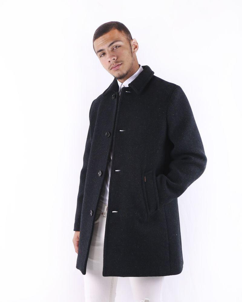 Gabardine en laine mouchetée noire Palto