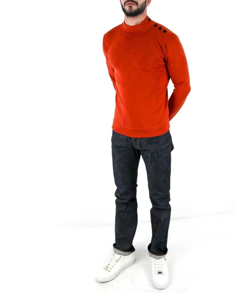Pull en laine orange à boutons Obvious