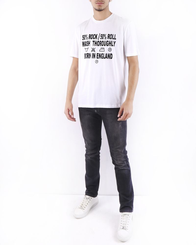 T-Shirt en coton blanc à flocage velours John Richmond