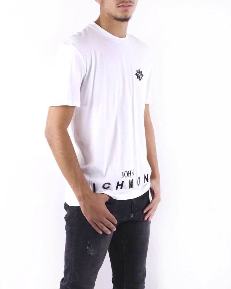 T-Shirt en coton blanc à flocage vernis John Richmond