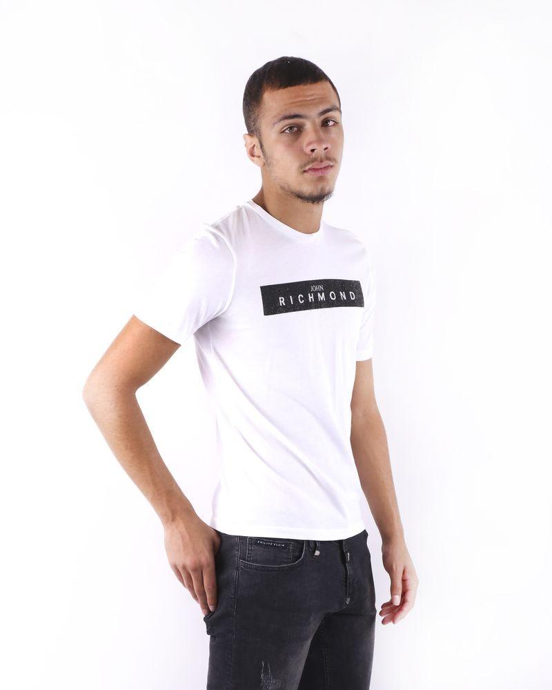 T shirt blanc à logo strassé John Richmond