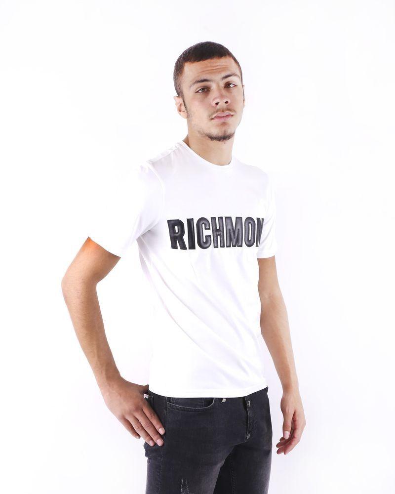T shirt blanc à logo matelassé John Richmond