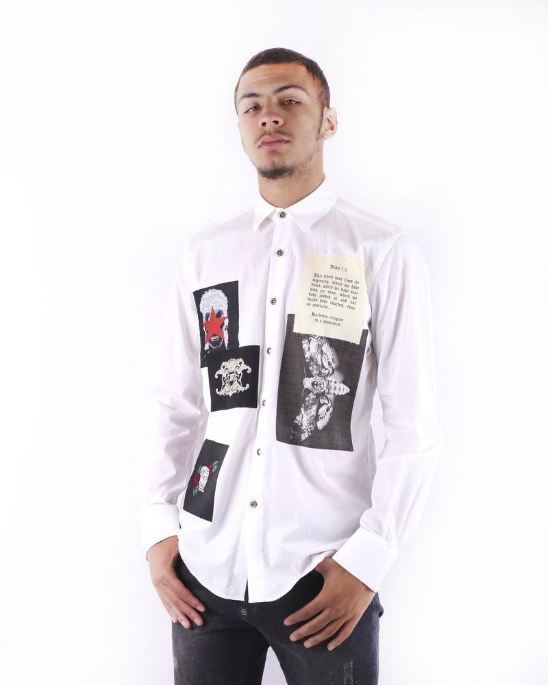Chemise blanche à patchs fantaisies John Richmond