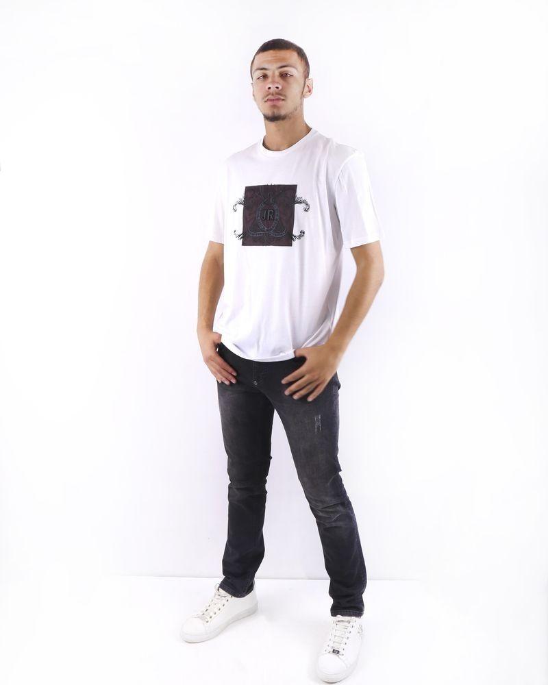 T shirt blanc à broderie fantaisie John Richmond