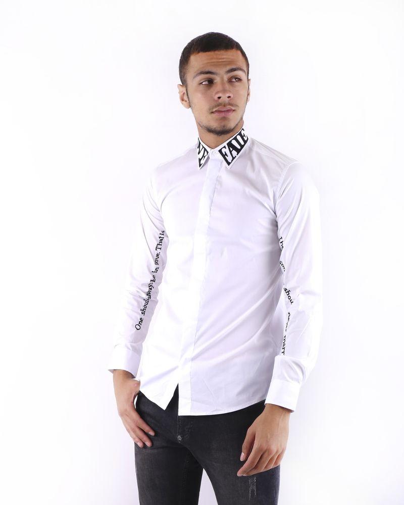 Chemise blanche à col brodé John Richmond