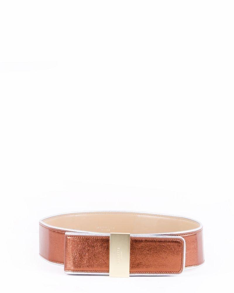 Ceinure en cuir bronze lamé Nenette