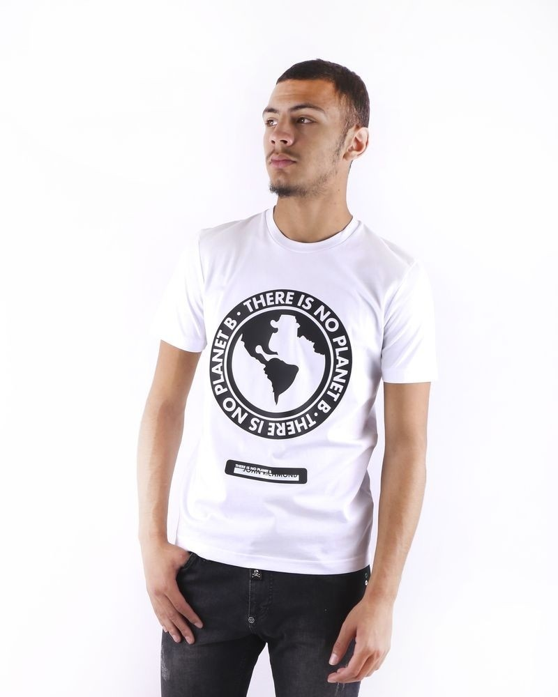 T shirt blanc à flocage fantaisie John Richmond