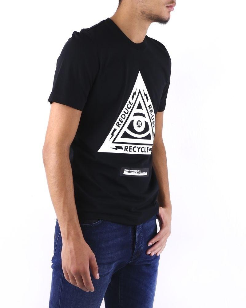 T shirt noir à flocage fantaisie John Richmond